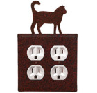 Cat Wrought Iron Wall Switchplate Rust – Double Outlet