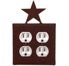 Star Wrought Iron Wall Switchplate Rust – Double Toggle
