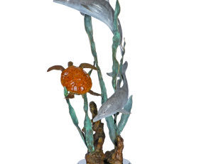 Aquatic Encounter Turtle and Dolphin Sculpture