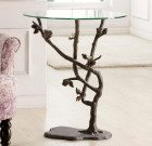 Bird and Pinecone End Table – Aluminum & Glass