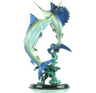 Chance Encounter Marlin and Sailfish Sculpture – Brass