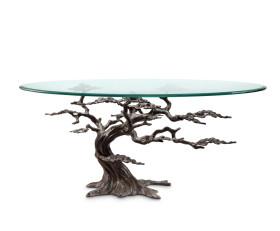 Cypress Tree Coffee Table – Aluminum, Iron & Glass