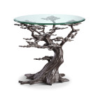 Cypress Tree End Table – Aluminum & Glass