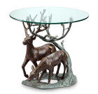 Deer Pair End Table – Aluminum & Glass