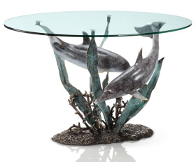 Dolphin Duet Coffee Table – Brass & Glass