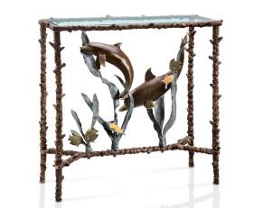 Dolphin Duo Lobby Table – Aluminum & Glass