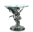 Dolphin Seaworld End Table – Brass & Glass