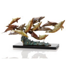 Dozen Swimming Dolphins Sculpture – Brass