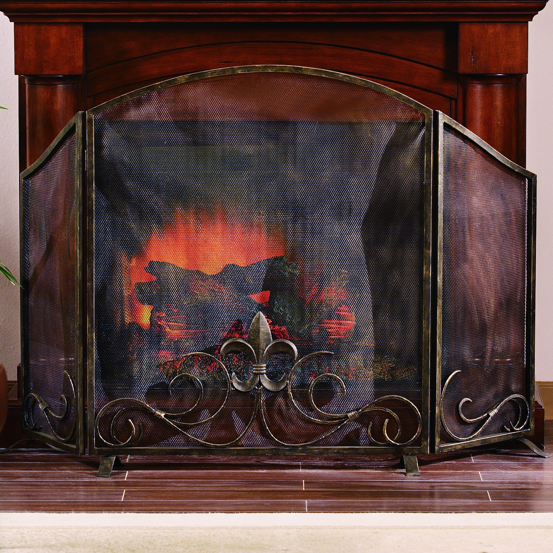 fleur de lis fireplace screen habitatter