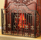 Fleur de Lis and Scroll Fireplace Screen – Iron