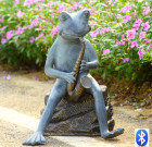 Frog Bluesman Garden Sculpture with Bluetooth Speaker