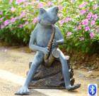 Frog Bluesman Garden Sculpture with Bluetooth Speaker