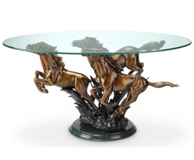 Galloping Horse Trio Coffee Table – Aluminum, Marble & Glass