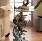 Marlin and Sailfish End Table – Aluminum & Glass