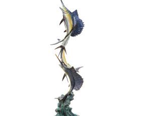 Marlin and Sailfish Seascape Sculpture – Brass