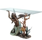 Mermaid Console Table – Brass & Glass