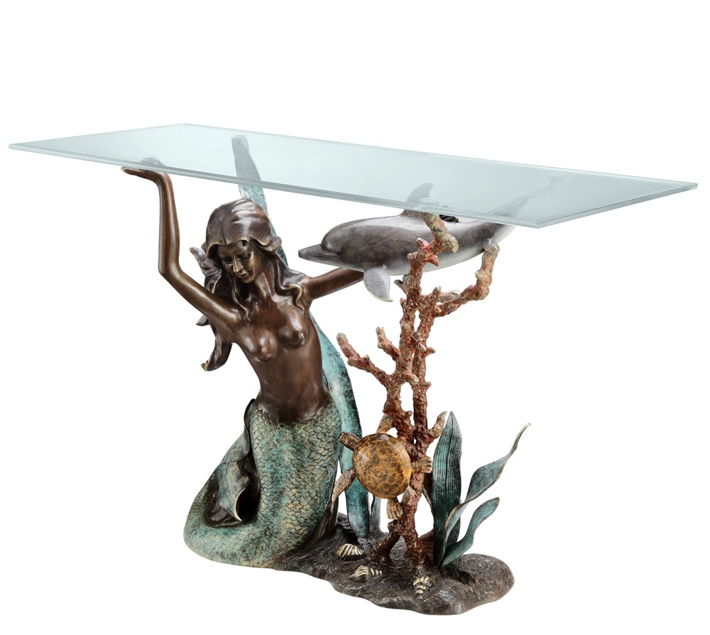 Mermaid console table decorative home hardware habitatter mermaid console table brass glass geotapseo Gallery