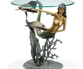 Mermaid and Sea Turtles End Table – Aluminum & Glass