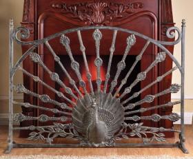 Peacock Fireplace Screen – Aluminum