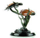 Sea Grass Tango Double Sea Turtle Sculpture – Brass