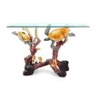 Sea Turtle Console Table – Brass & Glass