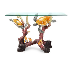 Sea Turtle Console Table – Brass & Glass
