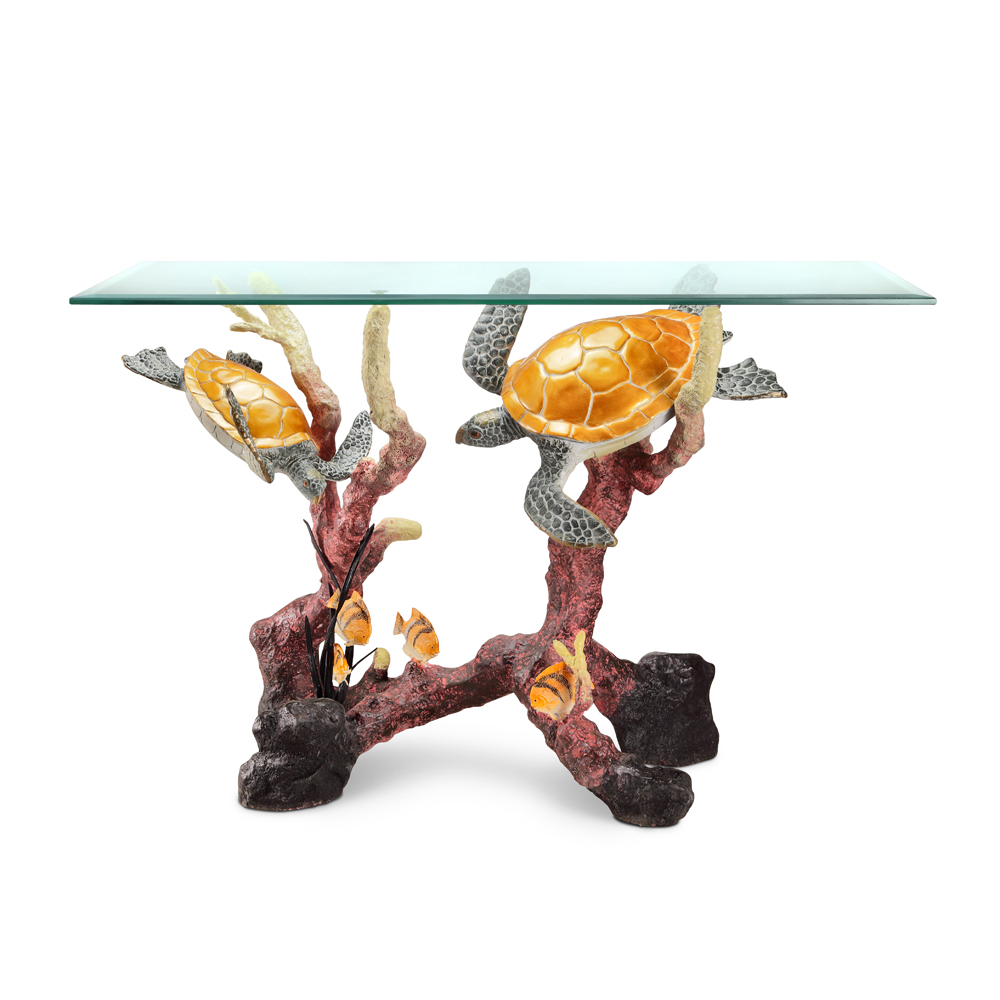 Sea turtle console table habitatter sea turtle console table brass glass geotapseo Gallery
