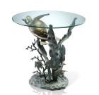 Sea Turtle End Table – Aluminum & Glass