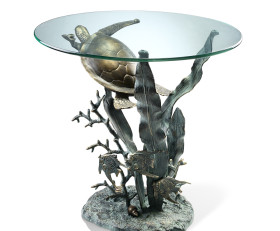 Sea Turtle End Table – Aluminum & Glass