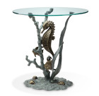 Seahorse End Table – Aluminum & Glass