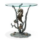 Seahorse End Table – Aluminum & Glass