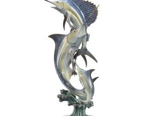 Slam Marlin and Sailfish Sculpture – Brass