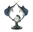 Underwater Duel Sailfish Sculpture – Brass