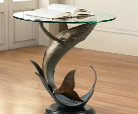 Whale End Table – Aluminum, Marble & Glass