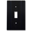 Brass Accents Contemporary Style Weathered Black Switchplate