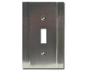 Brass Accents Contemporary Style Pewter Switchplate