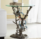 Crabs and Coral End Table – Aluminum & Glass