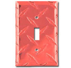 Diamond Plate Aluminum Switchplate – Redline Red