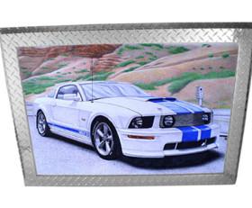 Diamond Plate Aluminum Picture Frame 3″ Trim – Silver