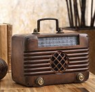 Old Time Radio Garden Sculpture with Bluetooth Speaker